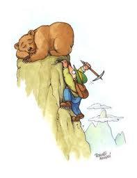 mountain climber with bear