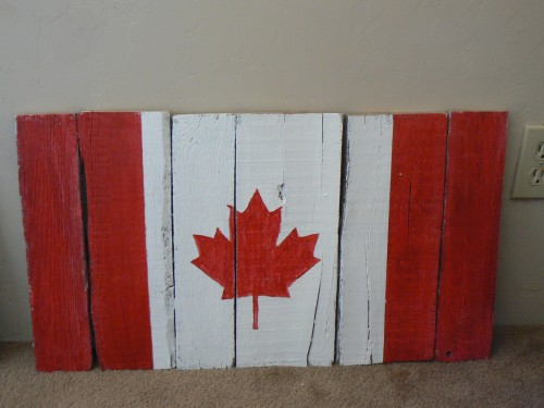 painted Canadian flag on reclaimed pallet