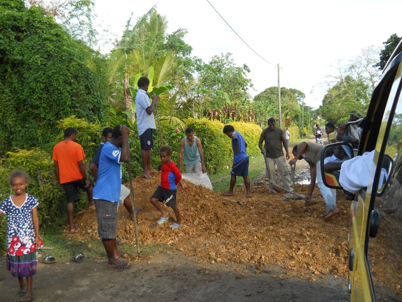 road construction crew in Vanuatu