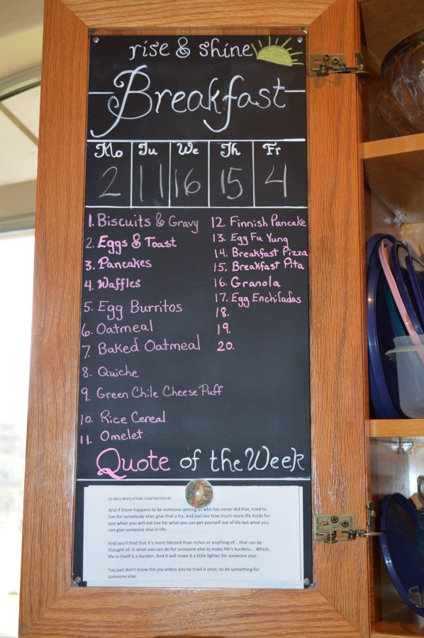 diy magnetic chalkboard menu planner for breakfast