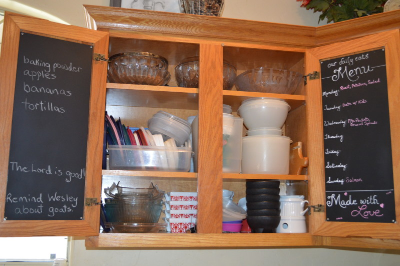 magnetic chalkboard menu before and after
