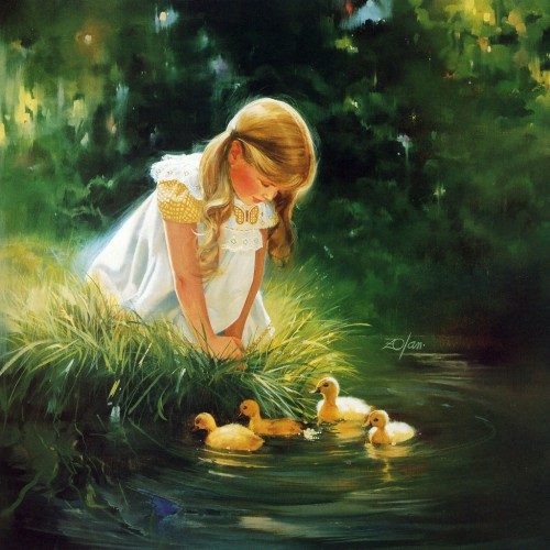 Donald Zolan girl with ducks